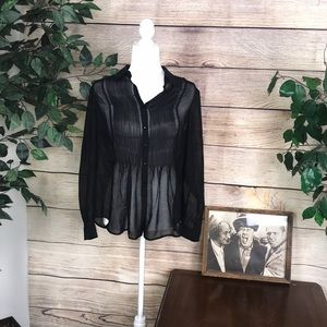 Coldwater creek women's black see through blouse.